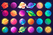 Vector set of cartoon planets. Colorful set of isolated objects. Space background. Fantasy planets. EPS 10
