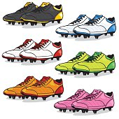 Vector Set of Cartoon Soccer Boots