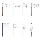 Vector Set of Cartoon White Flags on Wooden and Steel Flagpoles