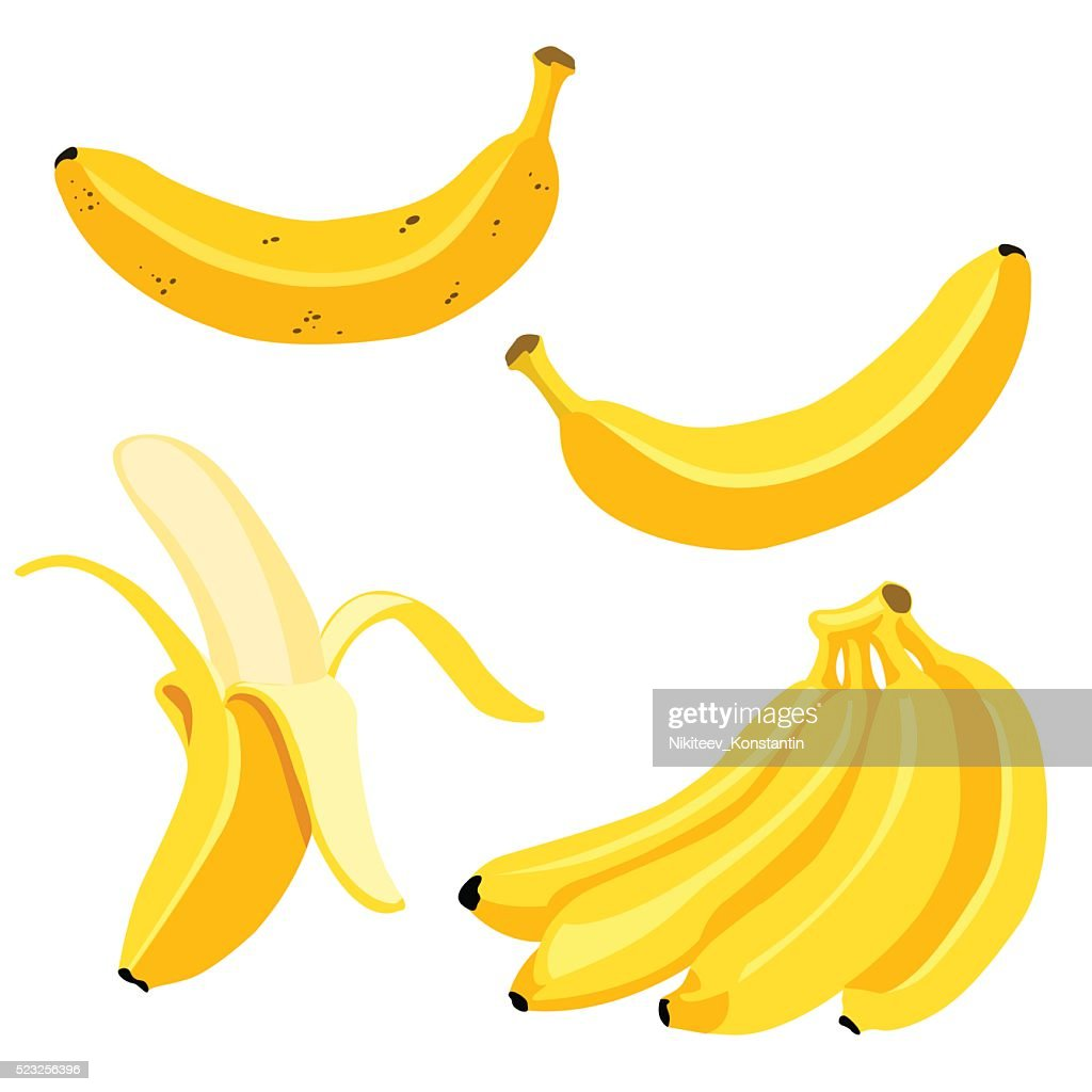 Vector Set of Cartoon Yellow Bananas.