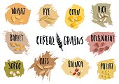 Vector set of cereal emblems with black handwritten lettering and hand-drawn stylized grains.