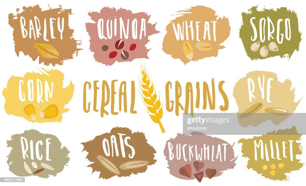 Vector set of cereal emblems with white handwritten lettering and hand-drawn stylized grains.