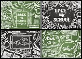Vector set of chalk Back to School backgrounds.