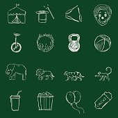 Vector Set of Chalk Circus Icons