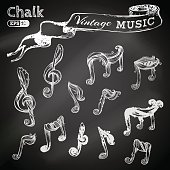 Vector set of chalk music icons.