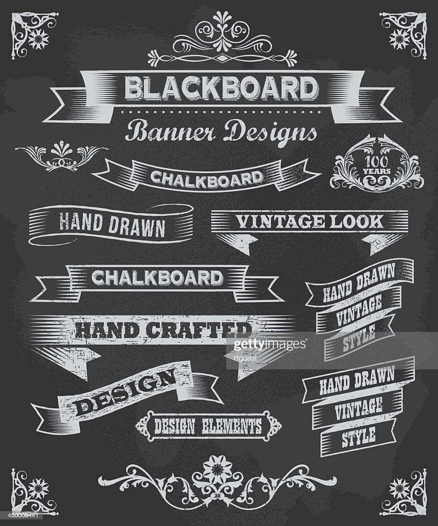 Vector set of chalkboard banner design icons