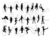 Vector set of children shapes playing jumping rope