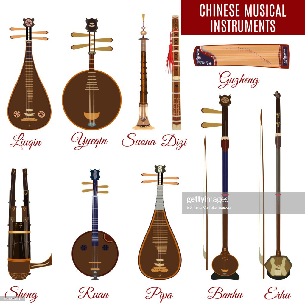 Vector set of chinese musical instruments