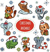 Vector set of Christmas cute animals, color cartoon collection