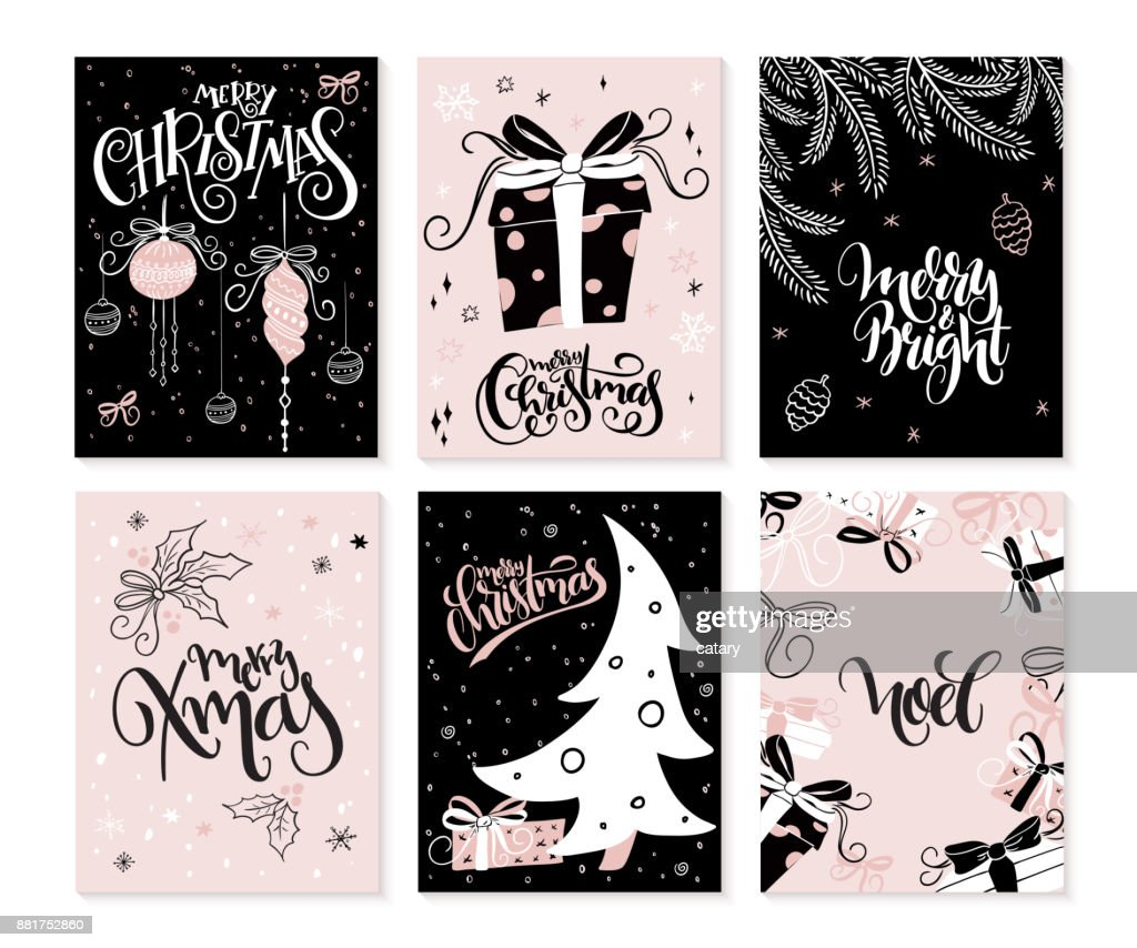vector set of christmas greeting cards with hand lettering phrases