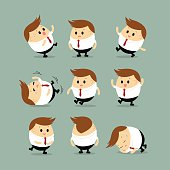 Vector Set of Chubby businessman characters with different action
