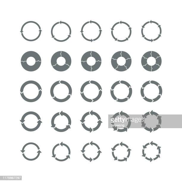 vector set of circles of arrows - arrows circle stock illustrations