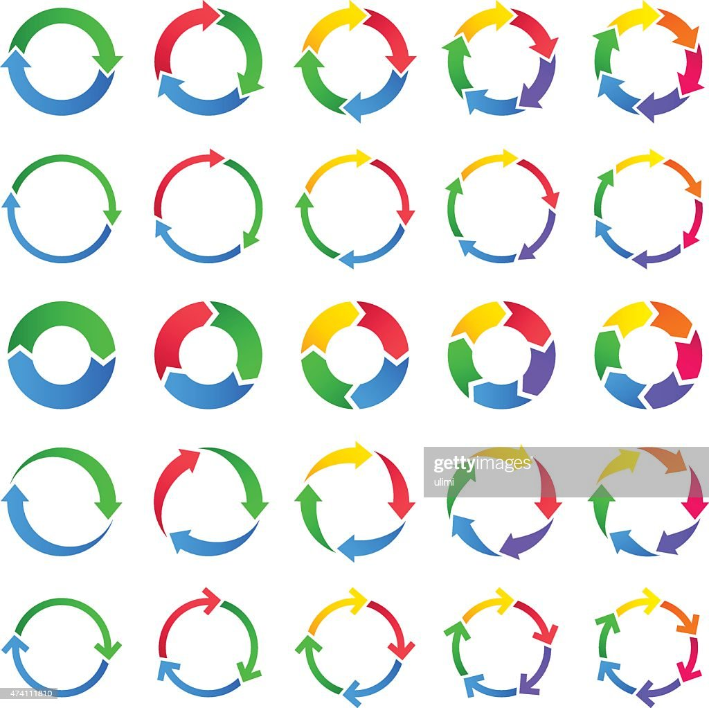 Vector set of circles of arrows