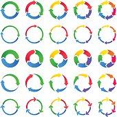 Vector set of circles of arrows