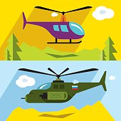 Vector Set of Civil and military aviation. Flat style colorful
