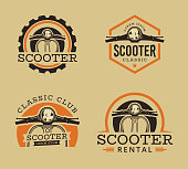 Vector set of Classic scooter emblems