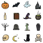 Vector Set of Color Doodle Halloween Icons. Traditional Halloweens Atributes.