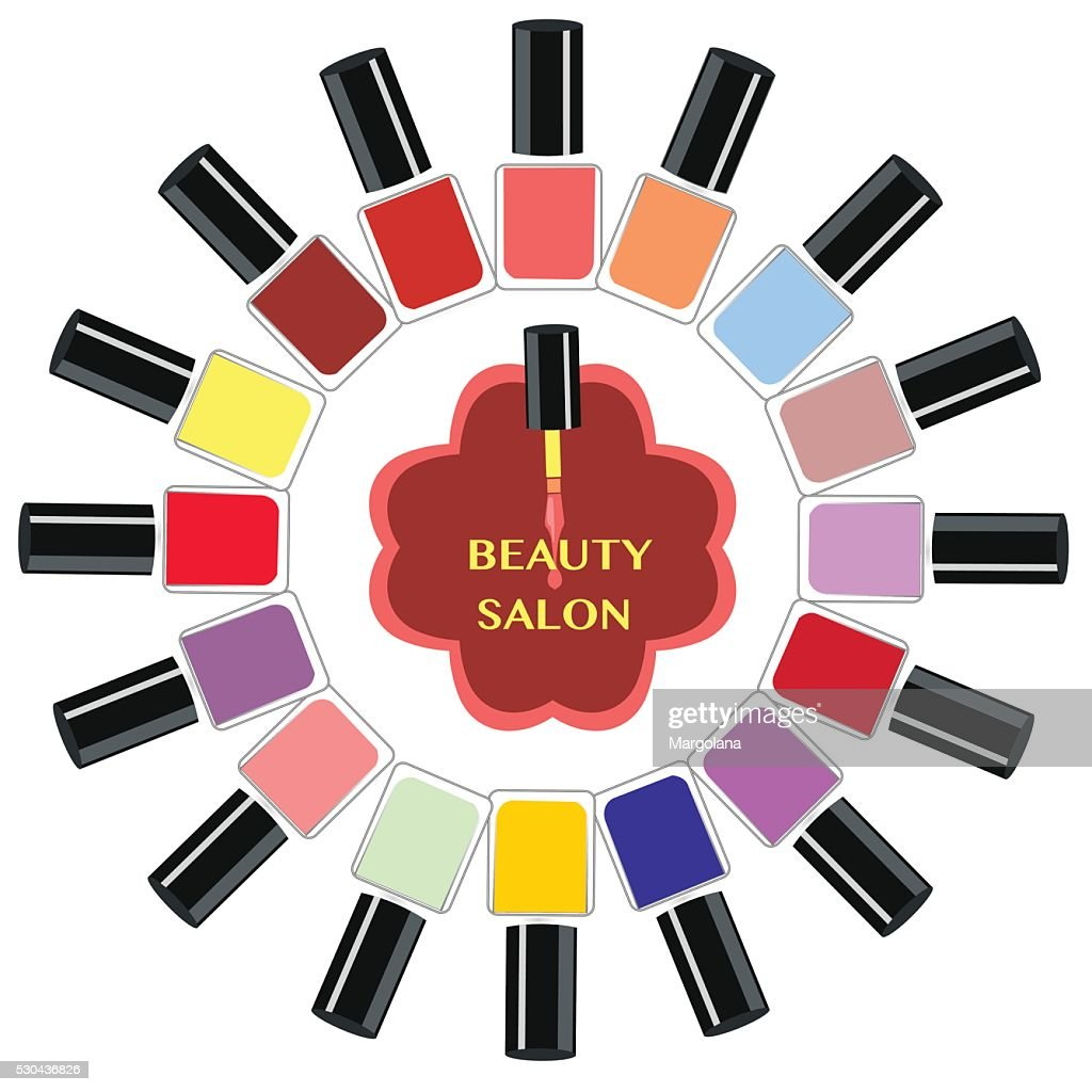 Vector Set of colorful nail polish bottles.
