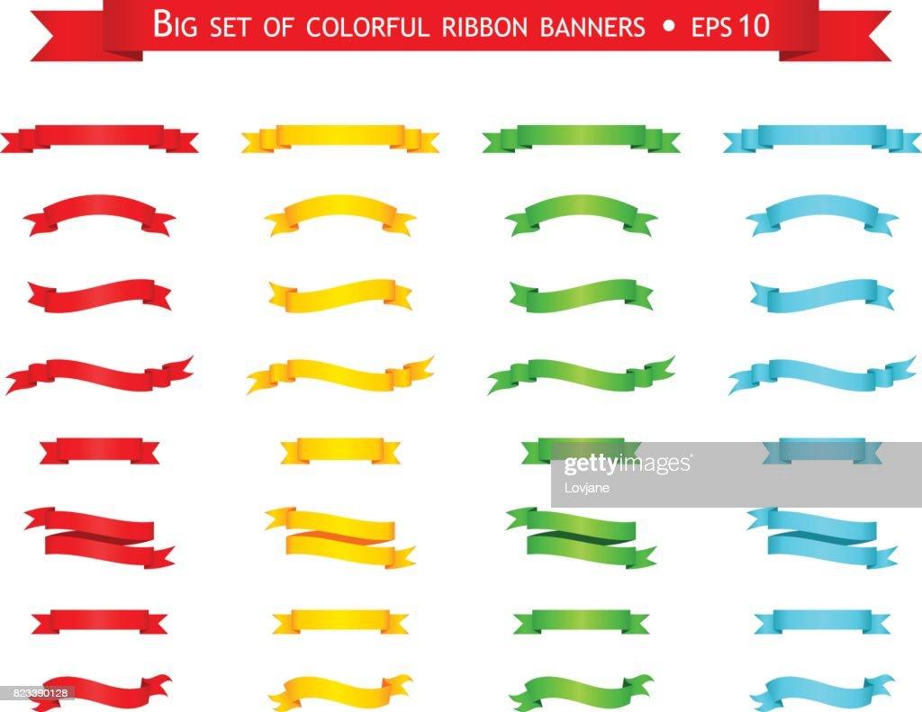 Vector set of colorful ribbon banners
