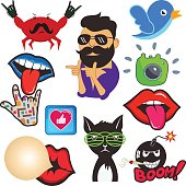 Vector set of cool social media signs and other shiny icons in cartoon style