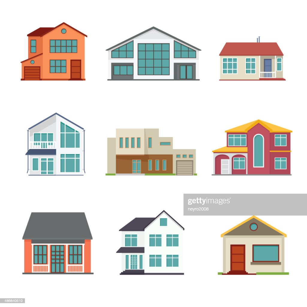 Vector set of cottage building flat icons