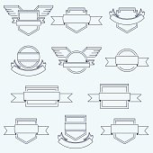 Vector set of crests badges icons with ribbons