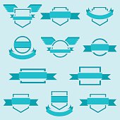 Vector set of crests insignia badges award icons