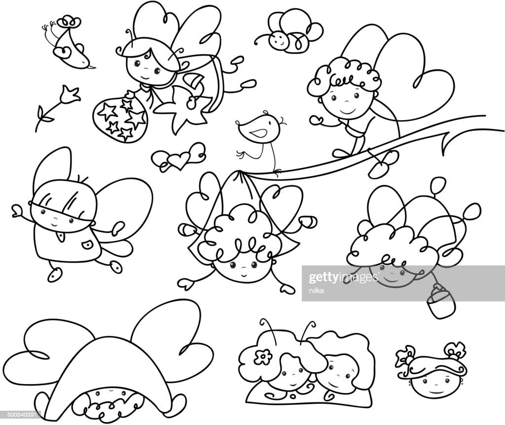 Vector set of cute angels cartoons silhouettes.