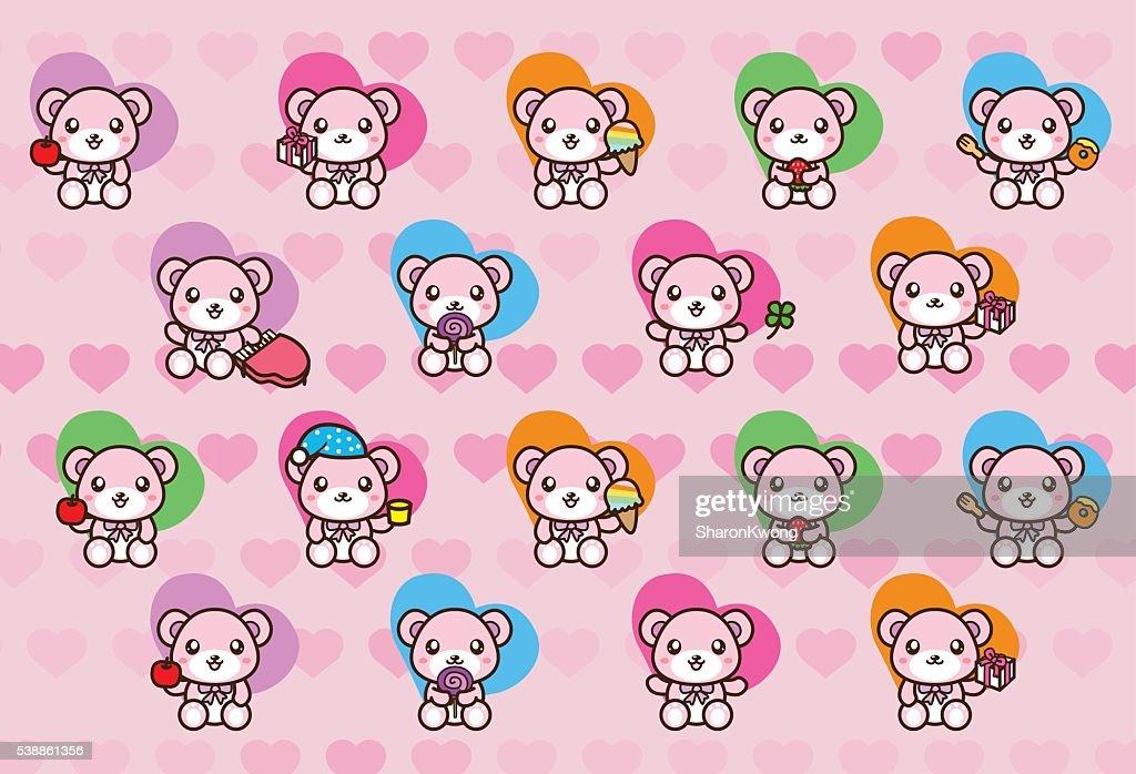Vector set of cute baby bears - Illustration