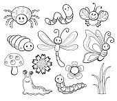 Vector Set of Cute Cartoon Bug Line Art, coloring.