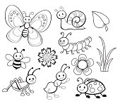 Vector Set of Cute Cartoon Bug Line Art, Coloring