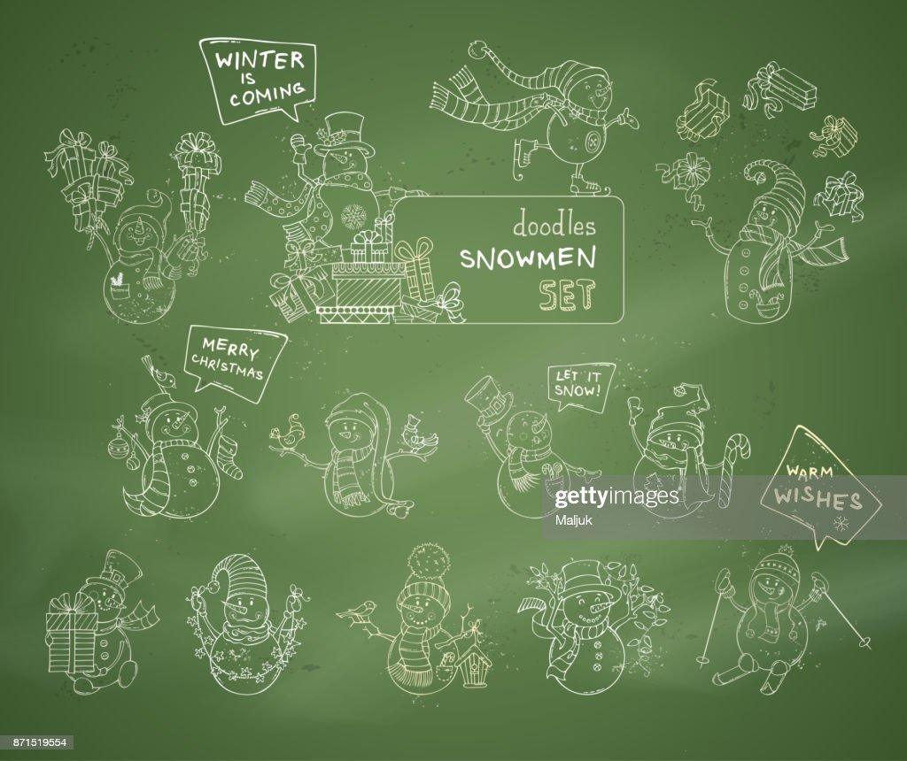 Vector set of cute chalk snowmen on green blackboard background.