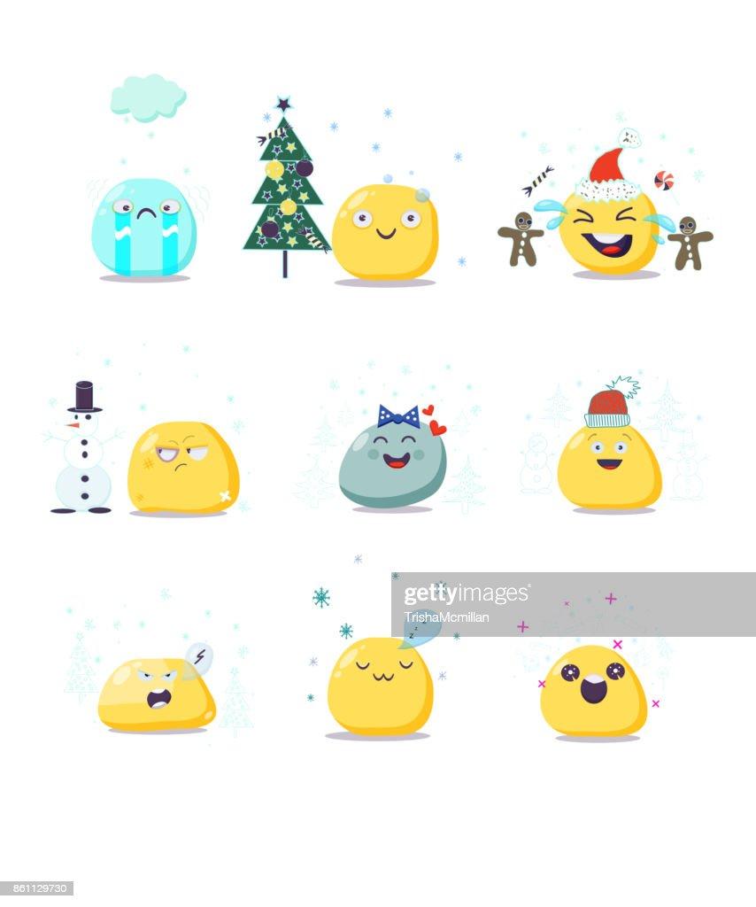 Vector set of cute Christmas emoji characters. Flat style.