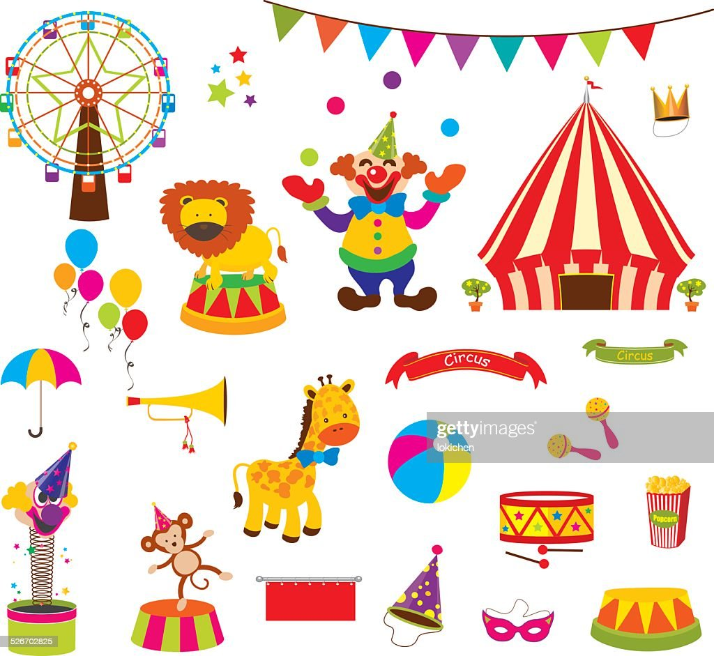 Vector Set of Cute Circus Themed
