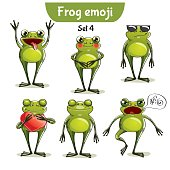 Vector set of cute frog characters. Set 4