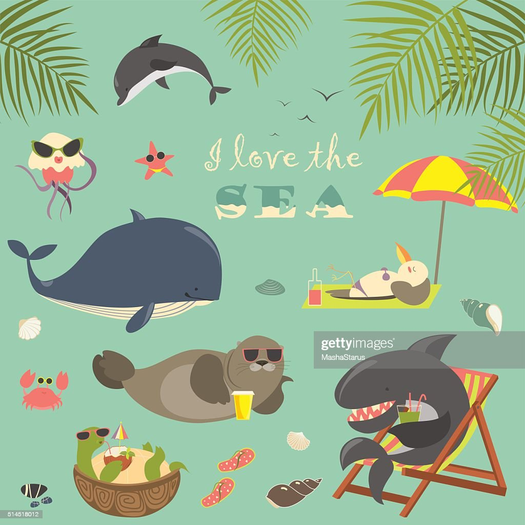 Vector set of cute sea animals on resort