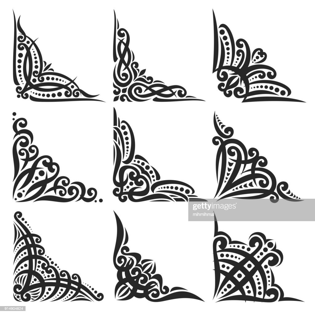 Vector set of decorative black Corners