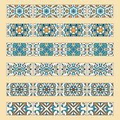 Vector set of decorative tile borders. Collection of colored patterns for design and fashion