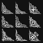 Vector set of decorative white Corners