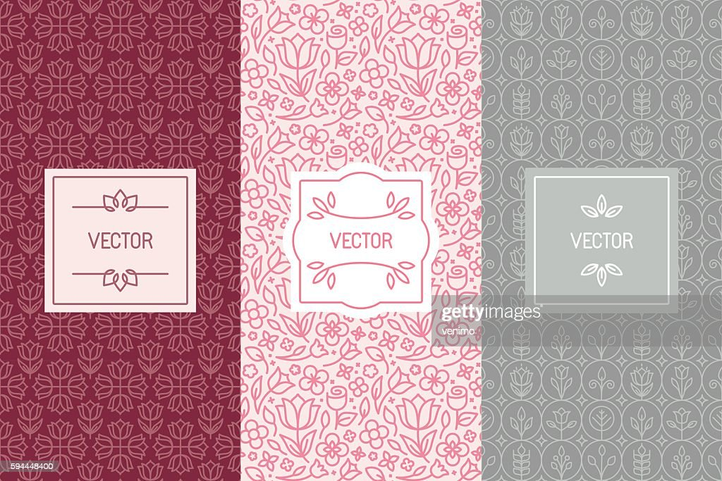 Vector set of design elements for cosmetic packaging