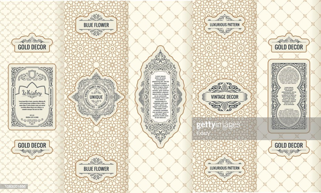 Vector set of design elements labels, icon, frame, luxury packaging for the product