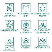 Vector set of design elements, logo design template, icons and badges for natural and organic cosmetics in trendy linear style