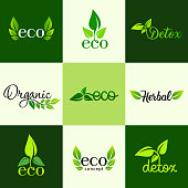 Vector set of design elements of the icon - a healthy diet, detox, organic and natural products