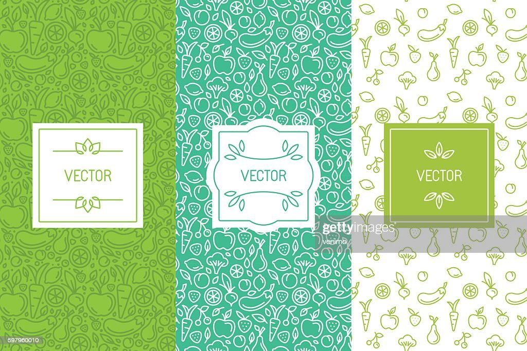 Vector set of design elements, seamless patterns and backgrounds