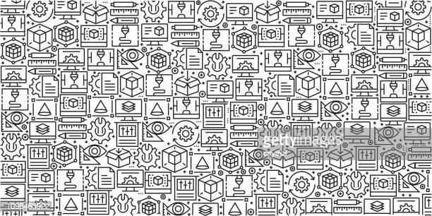vektor-set von design-vorlagen und elementen für 3d printing und modellierung in trendigen linearen stil - musterdesigns mit linearen symbole im zusammenhang mit 3d-druck und modellierung - vektor - rechnerunterstütztes konstruieren stock-grafiken, -clipart, -cartoons und -symbole