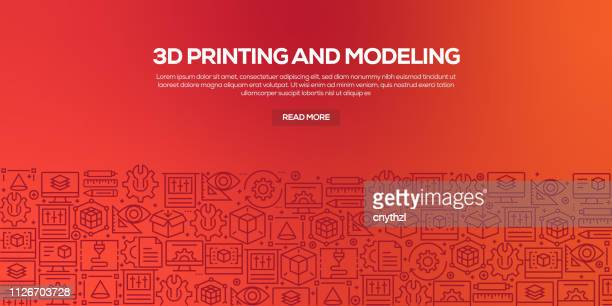 Vector set of design templates and elements for 3D Printing and Modeling in trendy linear style - Web Banner with linear icons related to 3D Printing and Modeling - Vector