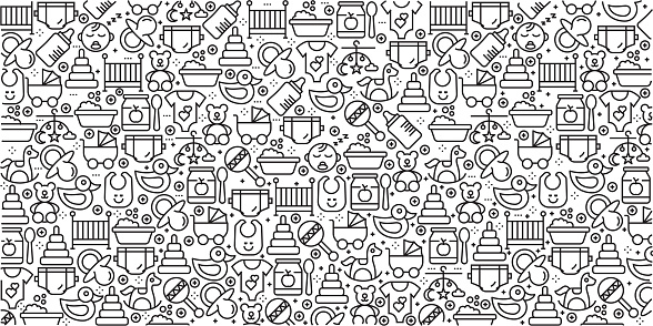Vector set of design templates and elements for Baby in trendy linear style - Seamless patterns with linear icons related to Baby - Vector - gettyimageskorea
