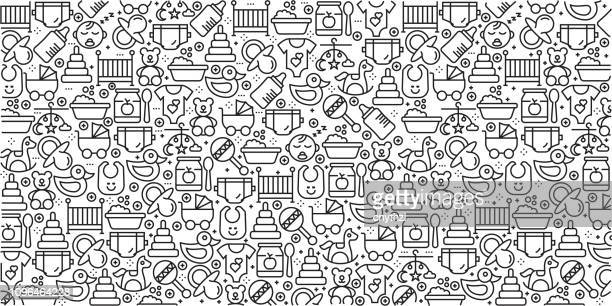 vector set of design templates and elements for baby in trendy linear style - seamless patterns with linear icons related to baby - vector - mother stock illustrations