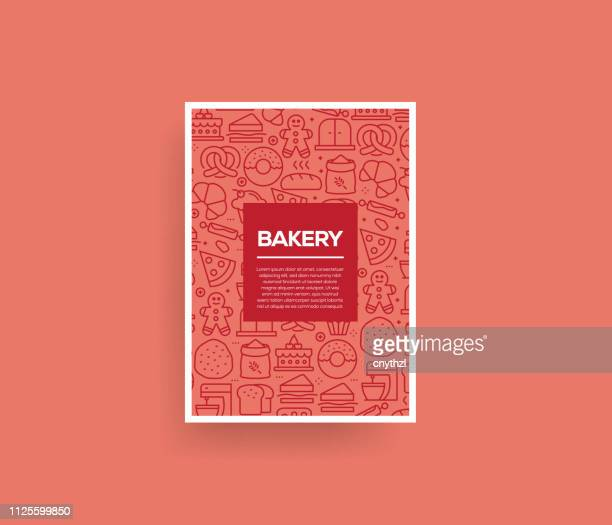 vector set of design templates and elements for bakery in trendy linear style - seamless patterns with linear icons related to bakery - vector - menu background stock illustrations