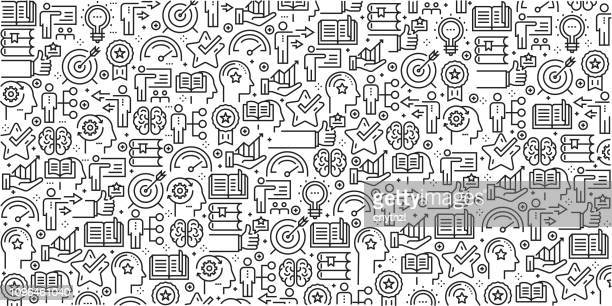 vector set of design templates and elements for best practice and skill in trendy linear style - seamless patterns with linear icons related to best practice and skill - vector - head above water stock illustrations